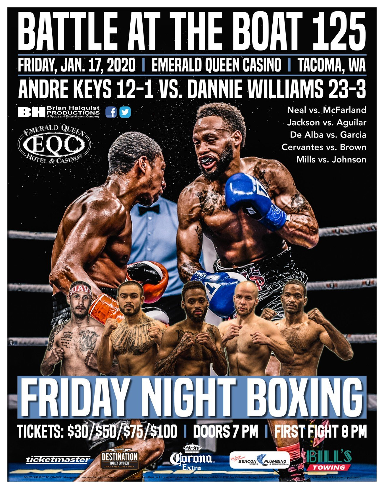 Andre Keys, Dannie Williams - Brian Halquist Productions will kick of its 2020 season with the 125th installment of the Battle at the Boat boxing series on Friday at the Emerald Queen Casino in Tacoma, Wash.