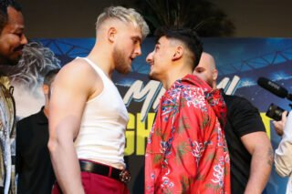 Jake Paul - Jake Paul and AnEsonGib traded barbs and shoves at a fiery press conference in LA today as they met for the first time since the announcement of their fight on Thursday January 30 at Meridian at Island Gardens in Miami, live on DAZN in the US and on Sky Sports in the UK.