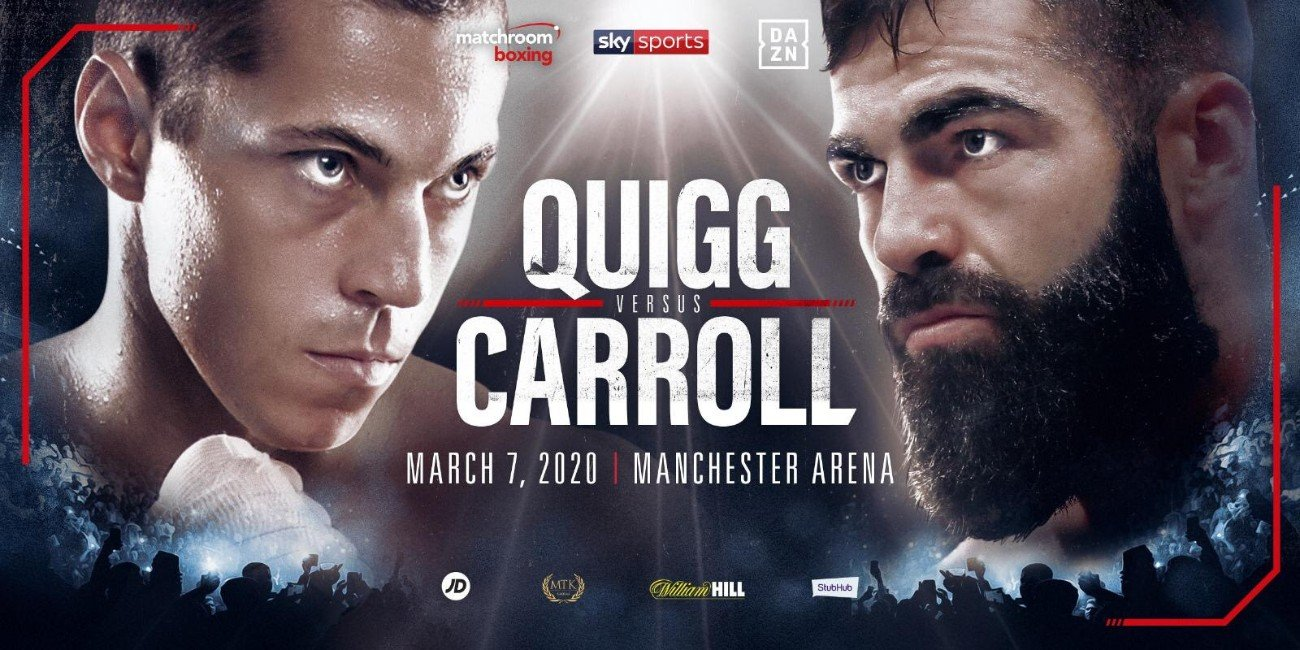 Jono Carroll - Super-Featherweight contenders Scott Quigg and Jono Carroll will meet in a huge England vs. Ireland clash at Manchester Arena on Saturday March 7, shown live on Sky Sports in the UK and DAZN in the US.