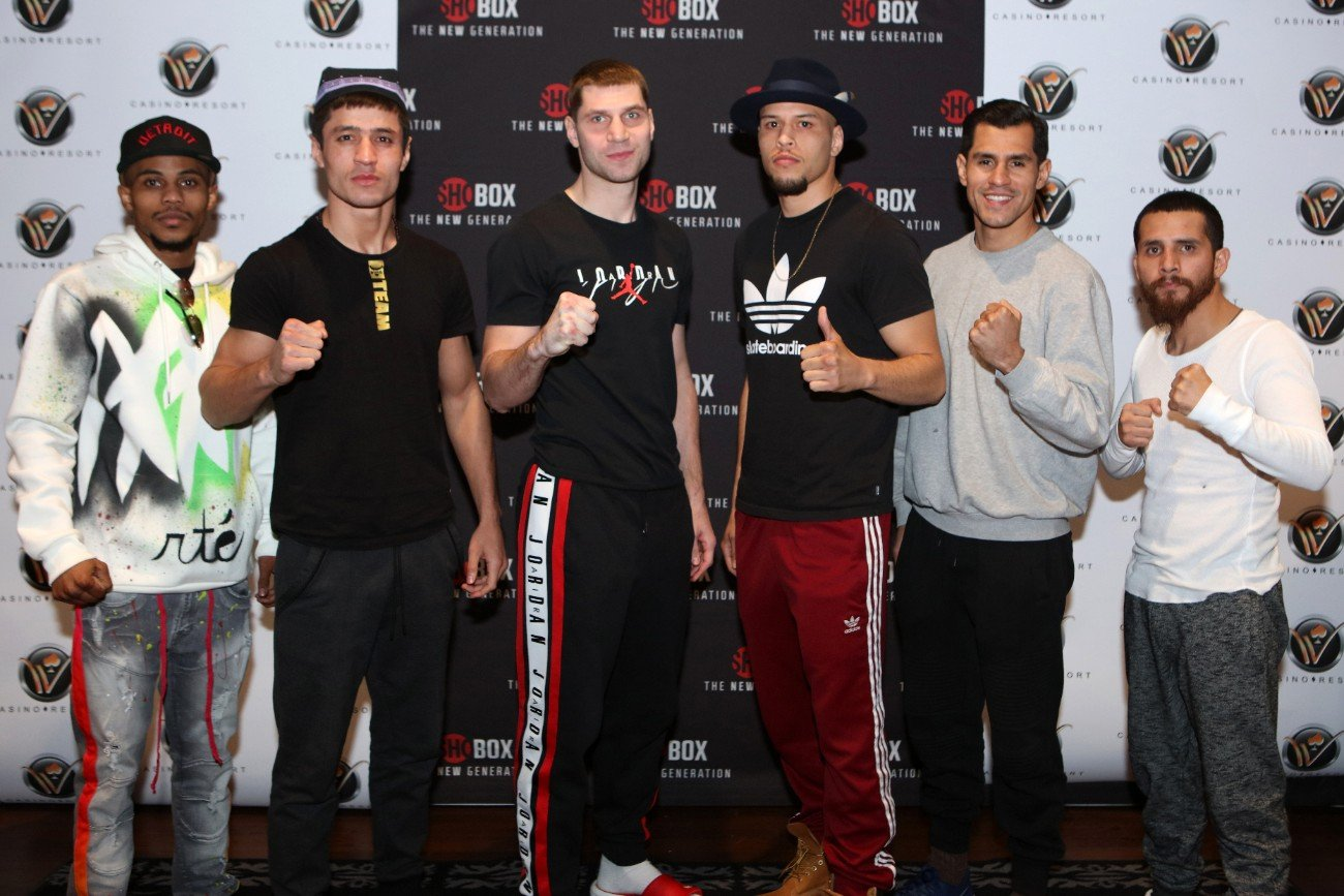Adrian Estrella, Ja'Rico O'Quinn, Oscar Vasquez, Shohjahon Ergashev, Ulises Sierra, Vladimir Shishkin - Three of the four undefeated prospects featured in this weekend's (Friday, January 17) 250th edition of ShoBox: The New Generation from WinnaVegas Casino Resort in Sloan, Iowa (live on SHOWTIME 10 p.m. ET/PT) have done their training in the rapidly re-emerging boxing city of Detroit.