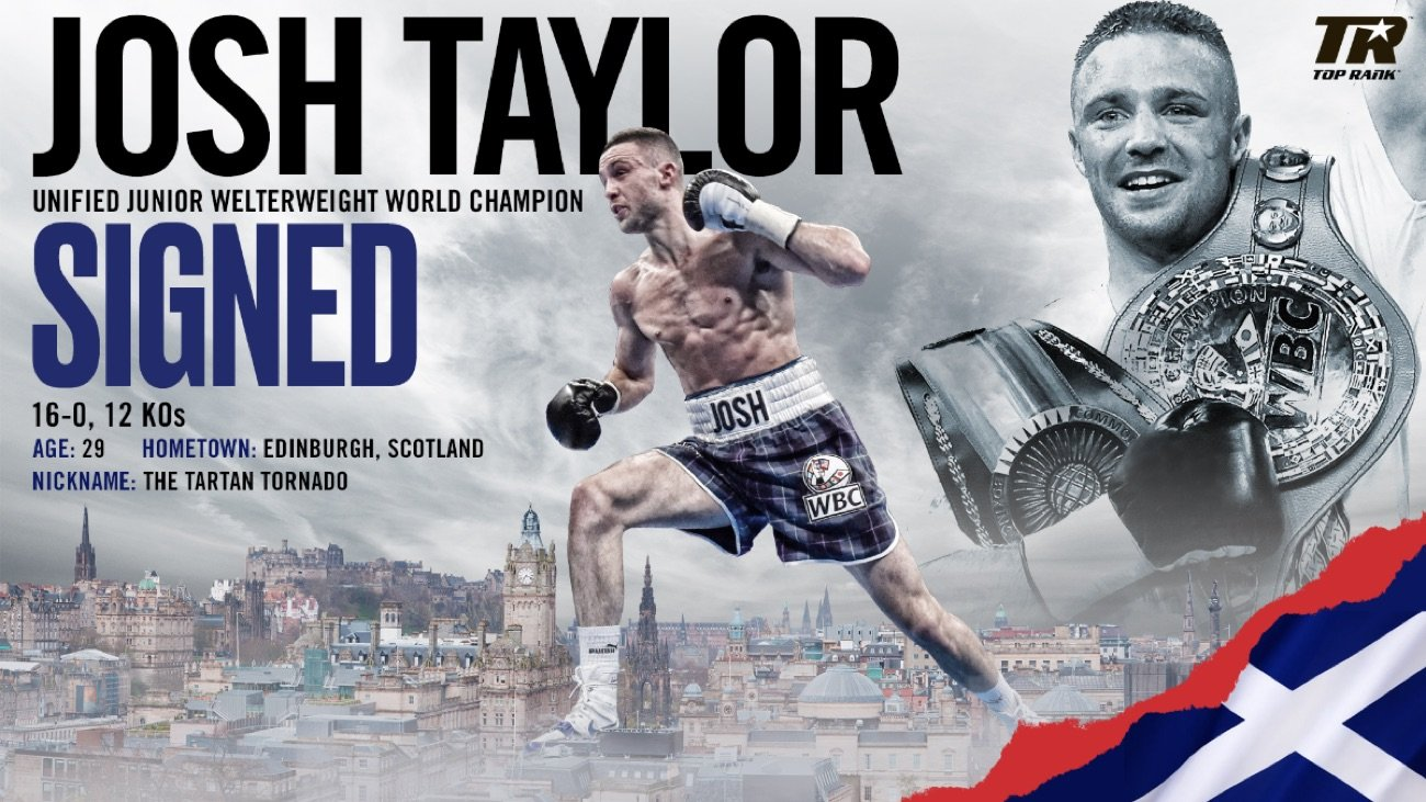 Top Rank Boxing - Top Rank promoter Bob Arum states his plan is to have IBF/WBA light welterweight champion Josh Taylor face WBC/WBO champion Jose Ramirez in a unification fight in late 2020 for the undisputed 140-lb championship.