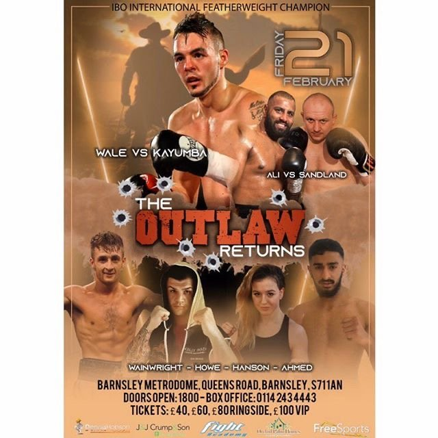 Dennis Hobson Promotions' first show of 2020, on February 21st at the Barnsley Metrodome, will be headlined by popular local fighter, Josh 'The Outlaw' Wale, taking on Tanzania's Iddi Kayumba.