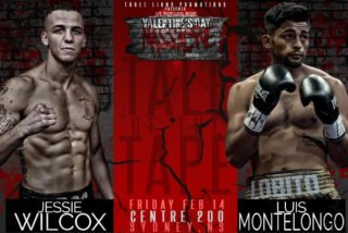 "Luis Montelongo - On Friday, February 14, undefeated Canadian welterweight prospect Jessie ""Rock"" Wilcox (14-0-2, 9KOs) of Hamilton, Ontario, puts his undefeated record on the line against iron-chinned Mexican Luis Enrique Montelongo (12-7-0, 3KOs) at the Centre 200 in Sydney, Nova Scotia. Scheduled for eight rounds or less, Wilcox-Montelongo is part of Three Lions Promotions' ""Valentine's Day Massacre"", headlined by the return of WBC International Silver Cruiserweight Champion Ryan ""Bruiser"" Rozicki (11-0-0, 11KOs) in a ten round title defense against Czech challenger Vladimir Reznicek (9-2-2, 4KOs)."