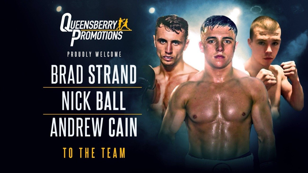 Andrew Cain, Nick Bal - FRANK WARREN IS delighted to confirm that the Everton Red Triangle trio of Andrew Cain, Nick Ball and Brad Strand have signed promotional agreements with Queensberry Promotions.