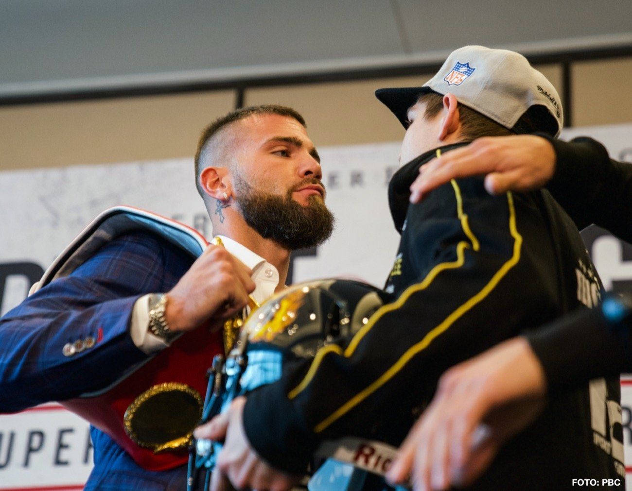 Caleb Plant, Vincent Feigenbutz - The 'KO King' Vincent Feigenbutz (31-2, 28 KOs) came face to face with Caleb Plant (19-0, 11 KOs) for the first time at Thursday's press conference ahead of their IBF Super Middleweight World title fight this Saturday night at the Bridgestone Arena in Nashville, Tennessee.
