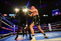 Deontay Wilder, Tyson Fury - Tyson Fury was as good as his word and then some tonight in Las Vegas. Jumping right on Deontay Wilder as he said he would do, Fury gave Wilder an absolute beating for six-and-a-half rounds. Bloodied, battered and downed twice during the one-sided fight, Wilder was finally saved by his corner as the towel was thrown in at the 1.39 mark of round seven.