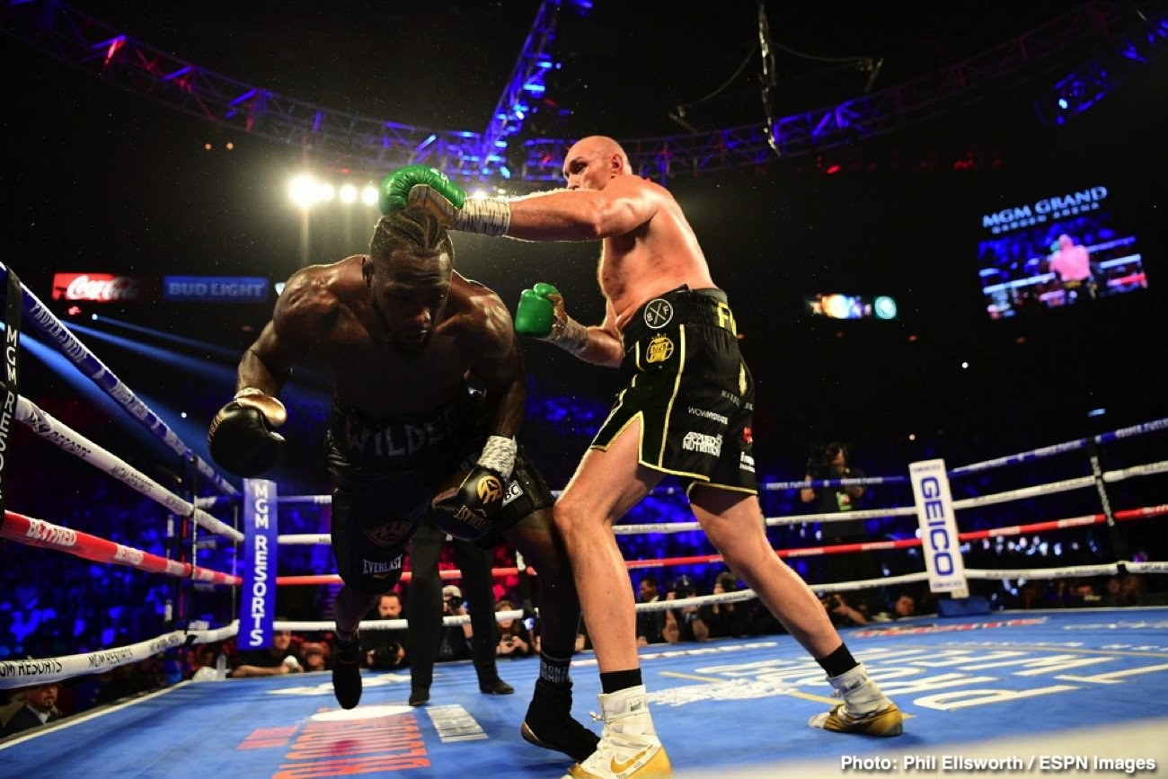 Tyson Fury was as good as his word and then some tonight in Las Vegas. Jumping right on Deontay Wilder as he said he would do, Fury gave Wilder an absolute beating for six-and-a-half rounds. Bloodied, battered and downed twice during the one-sided fight, Wilder was finally saved by his corner as the towel was thrown in at the 1.39 mark of round seven.