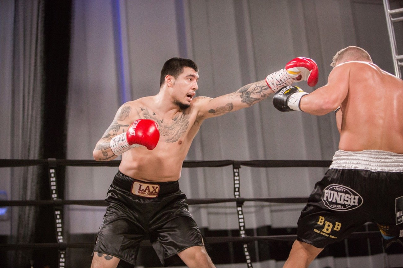 "By Paul R. Jones! Dusty Hernández-Harrison (34-0-1, 19 KOs) notched his fourth consecutive victory after pummeling Les ""Lock 'N' Load"" Sherrington (38-15, 22 KOs) in 2 rounds on Saturday night at Tysons Playground in Vienna, Virginia."