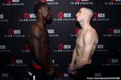 """Keith Hunter, Nick DeLomba, Richardson Hitchins, Sanjarbek Rakhmanov - Undefeated rising super lightweight prospect Keith """"The Bounty"""" Hunter and talented Sanjarbek """"War"""" Rakhmanov both made weight a day before their anticipated rematch and ShoBox: The New Generation 10-round main event on Friday, February 28 live on SHOWTIME (10:45 p.m. ET/PT) from Sam's Town Live in Las Vegas."""