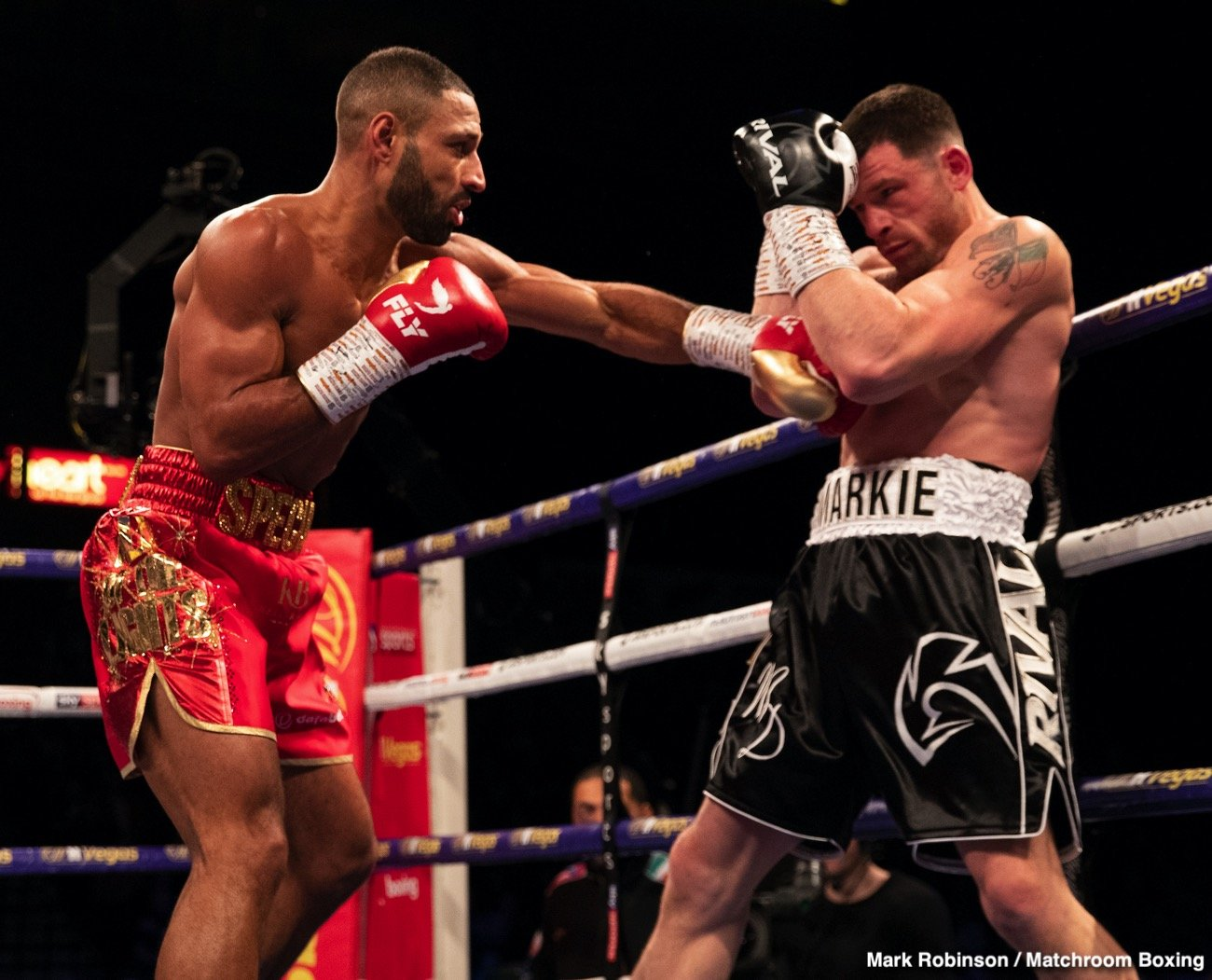 Eddie Hearn, Kell Brook, Liam Smith, Mark DeLuca - Kell Brook (39-2, 27 KOs) came back from a 14 month layoff to conquer Mark DeLuca (24-2, 13 KOs) in a 7th round KO on Saturday night at the Sheffield Arena in Sheffield, England.