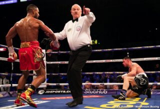David Allen - Kell Brook (39-2, 27 KOs) looked as good as new on Saturday night in returning from a 14 month layoff to crush his over-matched opponent Mark DeLuca (24-2, 13 KOs) in stopping him in the 7th round at the FlyDSA Arena in Sheffield, England.