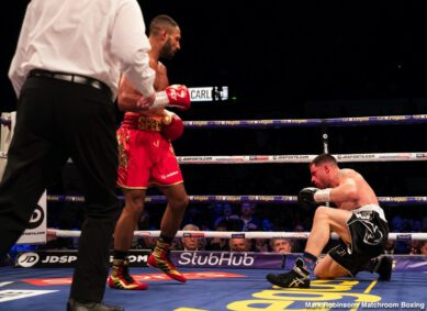 Claudio Marrero, Kell Brook, Kid Galahad, Liam Smith, Mark DeLuca - Kell Brook returned from a 14 month hiatus from the ring to stop Mark DeLuca in seven rounds at the FlyDSA Arena in Sheffield, live on Sky Sports in the UK and DAZN in the US.