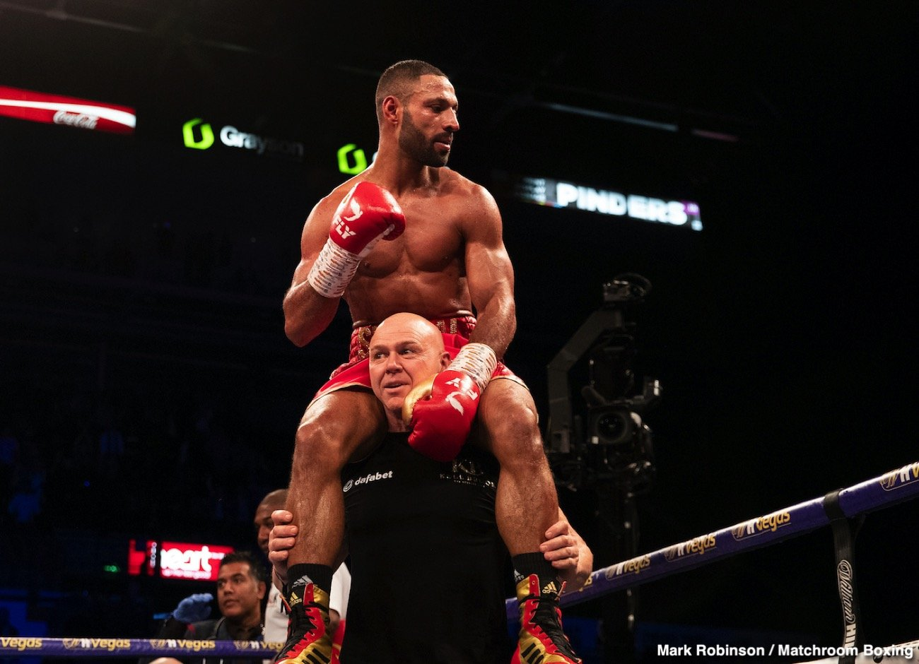 David Allen, Dorian Darch, Eddie Hearn, Kell Brook, Kid Galahad, Mark DeLuca - Kell Brook (39-2, 27 KOs) looked as good as new on Saturday night in returning from a 14 month layoff to crush his over-matched opponent Mark DeLuca (24-2, 13 KOs) in stopping him in the 7th round at the FlyDSA Arena in Sheffield, England.
