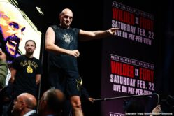 Amir Imam, Charles Martin, Deontay Wilder, Emanuel Navarrete, Gerald Washington, Jeo Santisima, Subriel Matias, Tyson Fury - Tyson Fury (29-0-1, 20 KOs) kept his word in weighing in over 270 lbs on Friday at his weigh-in for his rematch with WBC heavyweight champion Deontay Wilder. Fury weighed in at 273 lbs with his shirt on. Wilder (42-0-1, 41 KOs) weighed in at 231 lbs. The two didn't have a face-off, as it was banned by the Nevada Commission because of the shoving the two fighters did last Wednesday when they faced off at the final press conference.