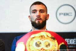 """Caleb Plant, Vincent Feigenbutz - Undefeated IBF Super Middleweight Champion Caleb """"Sweethands"""" Plant and mandatory challenger Vincent Feigenbutz squared off at the final press conference Thursday before they battle this Saturday, February 15 in the FOX PBC Fight Night main event and on FOX Deportes as Plant makes his homecoming at Bridgestone Arena in Nashville, Tennessee."""