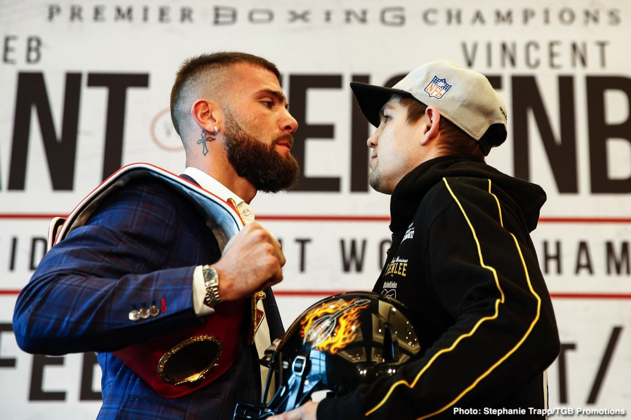 "Caleb Plant - Undefeated IBF Super Middleweight Champion Caleb ""Sweethands"" Plant and mandatory challenger Vincent Feigenbutz squared off at the final press conference Thursday before they battle this Saturday, February 15 in the FOX PBC Fight Night main event and on FOX Deportes as Plant makes his homecoming at Bridgestone Arena in Nashville, Tennessee."