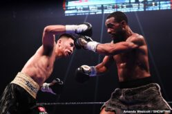 Gary Russell Jr., Guillermo Rigondeaux, Liborio Solis, Tugstsogt Nyambayar - WBC Featherweight World Champion Gary Russell Jr. successfully defended his title by winning a unanimous decision over mandatory challenger Tugstsogt Nyambayar live on SHOWTIME Saturday night in a Premier Boxing Champions event from PPL Center in Allentown, Pa. Russell won by the scores of 118-110, 117-111 and 116-112.