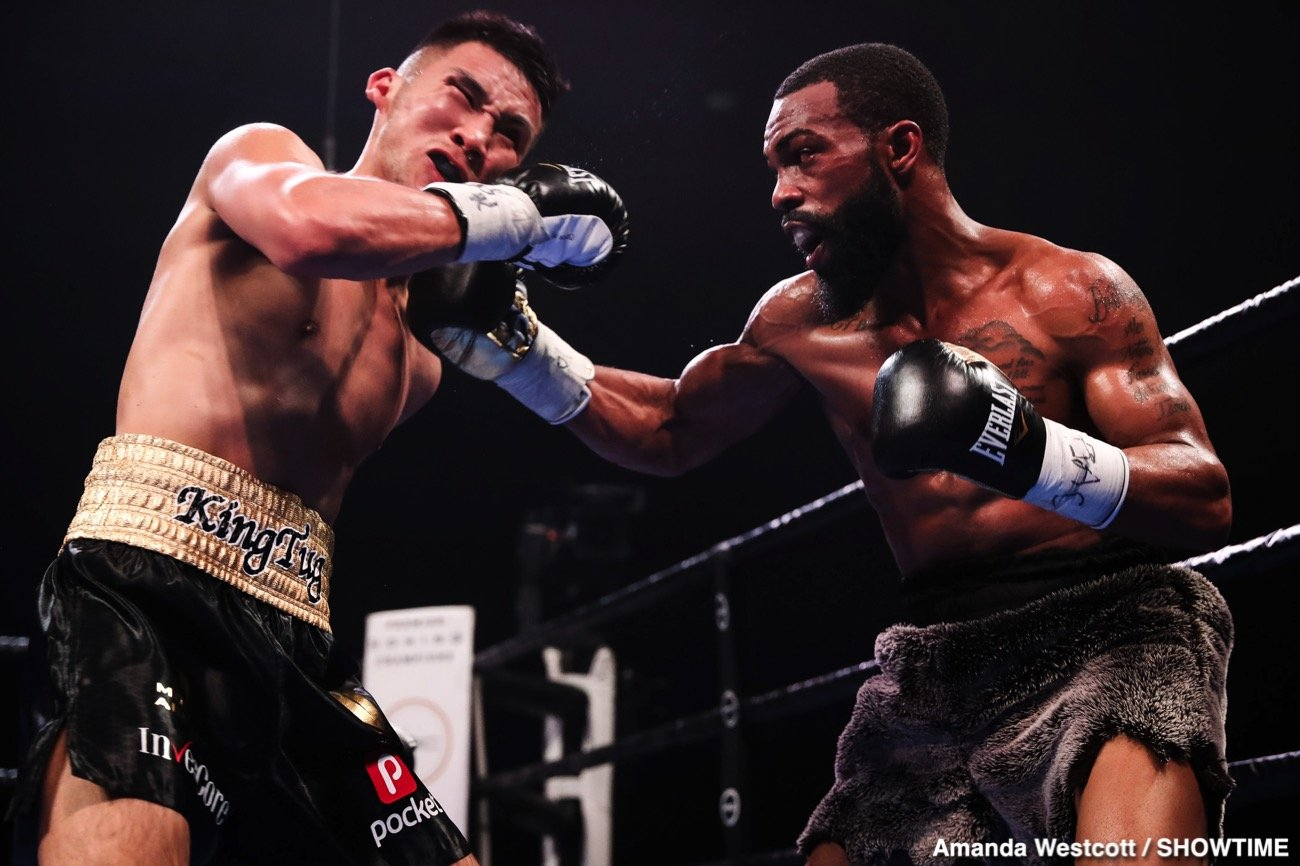 Gary Russell Jr., Guillermo Rigondeaux, Liborio Solis, ugstsogt Nyambayar - It wasn't pretty but WBC featherweight champion Gary Russell Jr. (31-1, 18 KOs) did enough to defeat 2012 Olympic silver medalist Tugstsogt Nyambayar (11-1, 9 KOs) by a 12 round unanimous decision on Saturday night on Showtime Boxing at the PPL Center, Allentown, Pennsylvania.