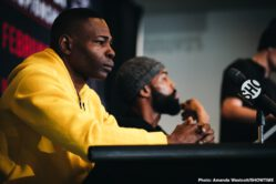 """Gary Russell Jr., Guillermo Rigondeaux, Jaime Arboleda, Liborio Solis, Tugstsogt Nyambayar - WBC Featherweight World Champion Gary Russell Jr and unbeaten mandatory challenger Tugstsogt """"King Tug"""" Nyambayar went face-to-face at a final press conference Thursday before they headline action live on SHOWTIME on Saturday, February 8 in a Premier Boxing Champions event from PPL Center in Allentown, Pennsylvania."""