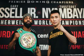 "Gary Russell Jr. - WBC Featherweight World Champion Gary Russell Jr and unbeaten mandatory challenger Tugstsogt ""King Tug"" Nyambayar went face-to-face at a final press conference Thursday before they headline action live on SHOWTIME on Saturday, February 8 in a Premier Boxing Champions event from PPL Center in Allentown, Pennsylvania."