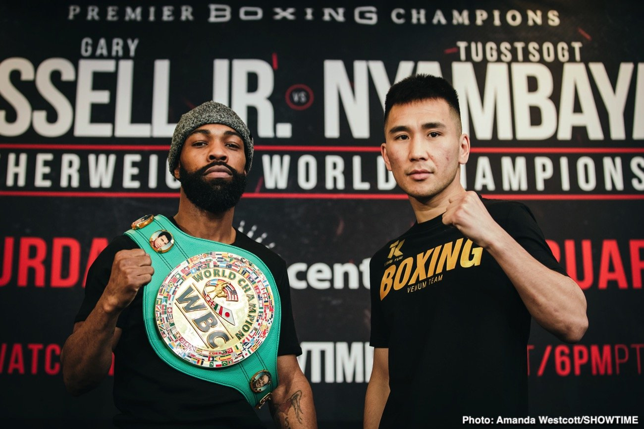 "WBC Featherweight World Champion Gary Russell Jr and unbeaten mandatory challenger Tugstsogt ""King Tug"" Nyambayar went face-to-face at a final press conference Thursday before they headline action live on SHOWTIME on Saturday, February 8 in a Premier Boxing Champions event from PPL Center in Allentown, Pennsylvania."
