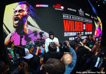 """Deontay Wilder, Tyson Fury - Unbeaten WBC Heavyweight Champion Deontay """"The Bronze Bomber"""" Wilder and undefeated lineal heavyweight champion Tyson """"The Gypsy King"""" Fury nearly came to blows at a heated final press conference Thursday as they previewed their highly anticipated rematch headlining a historic mega PPV event this Saturday, February 22 from the MGM Grand Garden Arena in Las Vegas."""