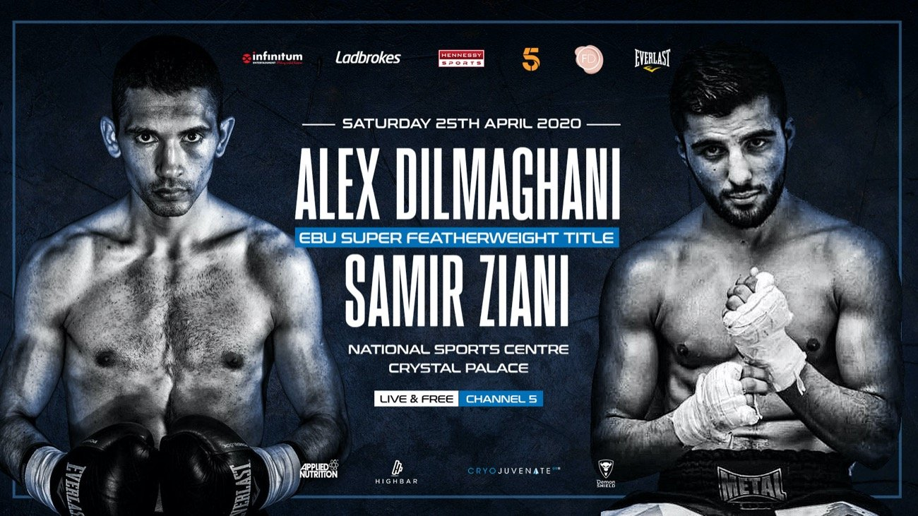 Alex Dilmaghani -  British star Alex Dilmaghani will challenge the reigning European Super-Featherweight Champion Samir Ziani for his title on Saturday 25th April at the National Sports Centre, Crystal Palace, exclusively live on free-to-air Channel 5 in the UK.