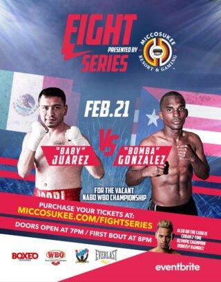 "Saul Juarez -  Boxeo Telemundo returns this Friday to kick off its 31st straight year on air with another chapter in the famed classic ""Puerto Rico vs Mexico"" as WBO #8 WBA #13 Jonathan ""Bomba"" Gonzalez (22-3-1 13 KO's) of Caguas, PR faces WBC #6 WBO #15 Saul ""Baby"" Juarez (25-10-2 13 KO's) of Mexico City, MX."