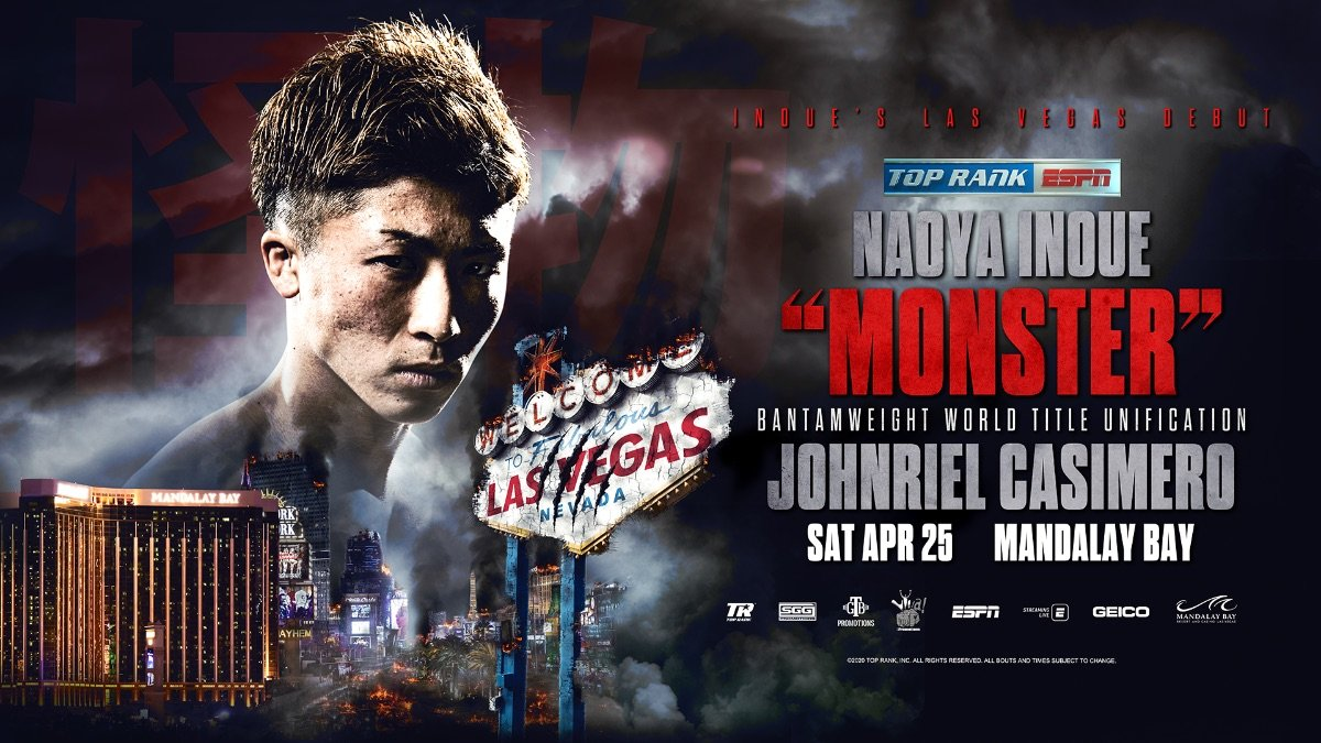 Johnriel Casimero, Naoya Inoue - Inoue-Casimero to headline tripleheader on ESPN+ beginning at 9 p.m. ET - ESPN2 to televise preliminary bouts starting at 7 p.m. ET