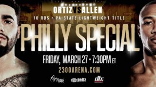 Damon Allen, Stevie Ortiz - It should be another all-Philly classic when lightweights Stevie Ortiz and Damon Allen collide over 10 rounds for Ortiz' Pennsylvania state lightweight championship on Friday evening, March 27, at the 2300 Arena.