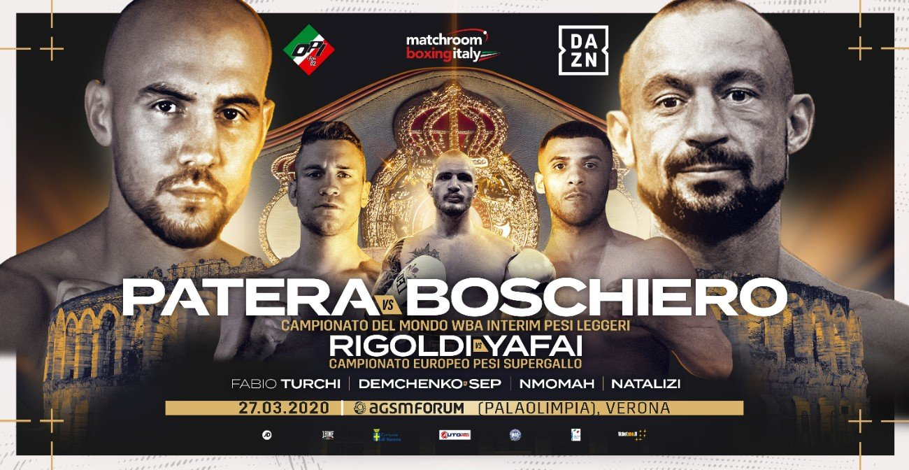 DAZN - Francesco Patera will face Devis Boschiero for the Interim WBA Lightweight World Title on the same night that Gamal Yafai challenges Luca Rigoldi for the EBU European Super-Bantamweight Title at the AGSM Forum in Verona, Italy on Friday March 27, live on DAZN.