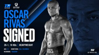 "Oscar Rivas - Heavyweight contender Oscar ""Kaboom"" Rivas, the Colombian-born, Canadian-based puncher on the precipice of a world title shot, has inked a multi-fight promotional agreement with Top Rank. Rivas, who is co-promoted by Groupe Yvon Michel, will return on an ESPN platform in 2020."