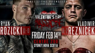 """Ryan Rozicki - On Friday, February 14, Ryan """"Bruiser"""" Rozicki (11-0-0, 11KOs) of Sydney Forks, Nova Scotia, makes his first defense of the WBC International Silver Cruiserweight Championship against Czech contender Vladimir Reznicek (9-2-2, 4KOs) at the Centre 200 in Sydney, Nova Scotia. With less than a week to go, Rozicki is putting the final touches on his camp at TNT Boxing Academy in Guelph, Ontario."""