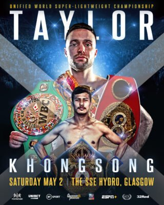 Apinun Khongsong - UNIFIED WORLD SUPER lightweight champion Josh Taylor will fight in Glasgow again, at the SSE Hydro, for his mandatory defence of his IBF title against the unbeaten Thai Apinun Khongsong on Saturday May 2, live on BT Sport.