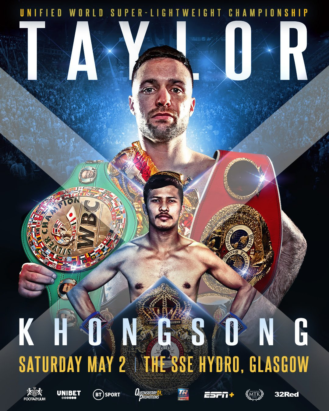Josh Taylor - UNIFIED WORLD SUPER lightweight champion Josh Taylor will fight in Glasgow again, at the SSE Hydro, for his mandatory defence of his IBF title against the unbeaten Thai Apinun Khongsong on Saturday May 2, live on BT Sport.