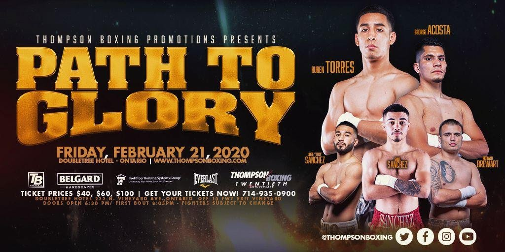 "Gabino Cota, Ruben Torres - Lightweight prospect Ruben ""Ace"" Torres (11-0, 9 KOs), will headline Thompson Boxing's ""Path To Glory"" event on Friday, Feb. 21st, from the Doubletree Hotel in Ontario, Calif."