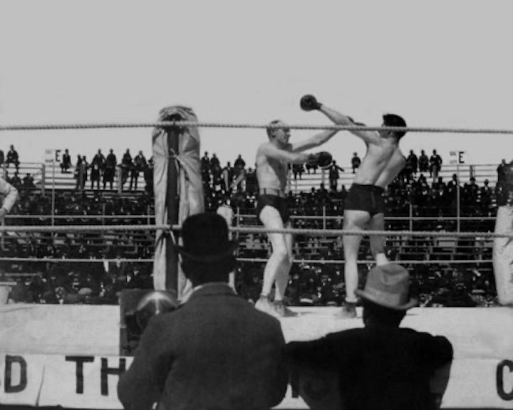 """Bob Fitzsimmons, s James J. Corbett - Corbett, making his second title defence, was in almost total control of the fight for most of the 13 rounds before the sudden ending. Knocking the far smaller Fitzsimmons down with a body assault in the sixth round and having the Cornish man in dire trouble, San Francisco's Corbett watched with amazement as the challenger managed to clamber up and see out the round. """"Ruby Bob"""" took more sickening punishment over the course of rounds seven through 13. This was a fight that would certainly have been stopped if it took place today."""