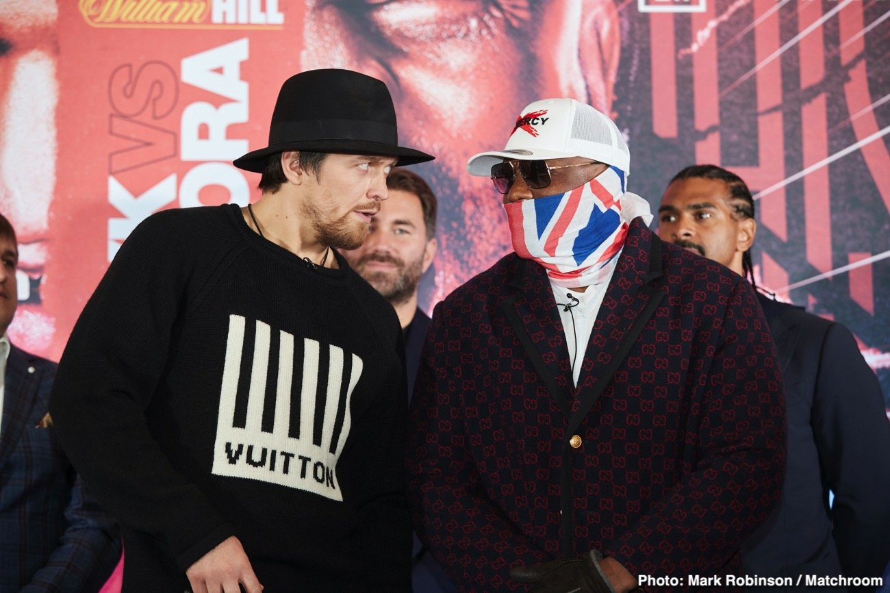So far, with no fights in the U.K yet postponed due to the Coronavirus pandemic, it's business as usual (for now). And today, ahead of their scheduled May 23rd fight, Oleksandr Usyk and Dereck Chisora came face-to-face at the official press conference to hype the fight.