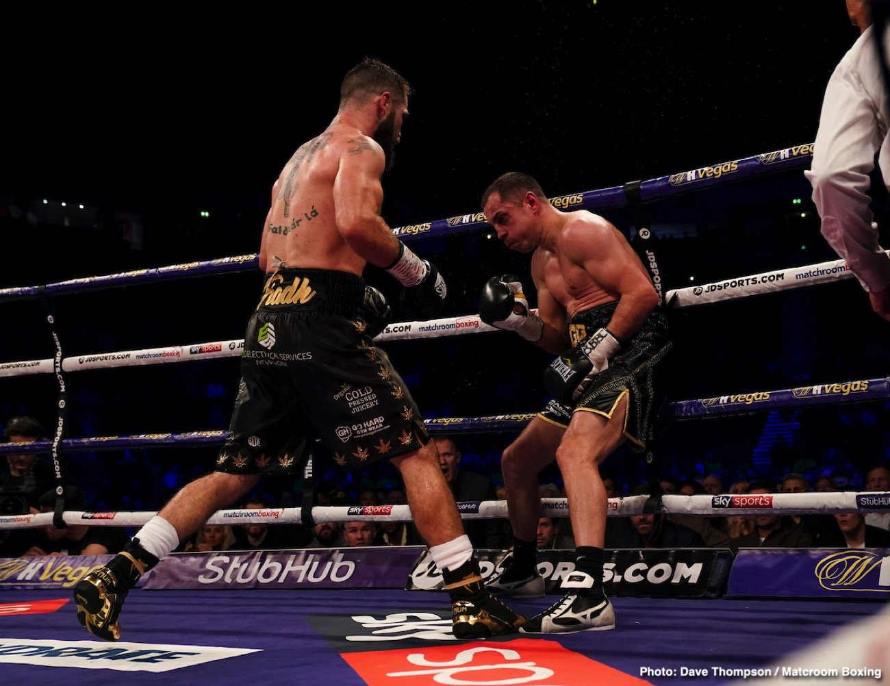 Hughie Fury - In a masterclass performance, super featherweight contender Jono Carroll (18-1-1, 4 KOs)  embarrassed former 122-lb champion Scott Quigg (35-3-2, 26 KOs) in totally schooling him in scoring an 11th round retirement stoppage on Saturday night in front of an excited crowd at the Manchester Arena in Manchester, England.