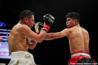 Mikey Garcia -  In the main event of a thrilling Matchroom Boxing USA fight card live on DAZN and in front of 11,019 passionate fans at the Dallas Cowboys headquarters, Mikey Garcia (40-1, 30 KOs) outlasted Jessie Vargas (29-3-2, 11 KOs) in an action-packed welterweight showdown on Saturday night. Vargas effectively used his jab throughout the fight, but Garcia ultimately wore him down with brutal right hands and even sent Vargas to the canvas in the fifth round. The four-division world champion earned a unanimous decision victory to prove his doubters wrong as he continues his pursuit to dominate the welterweight ranks.