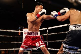 Brandun Lee, Camilo Prieto - Undefeated 20-year-old super lightweight prospect Brandun Lee continued the impressive start to his career by scoring a third-round TKO over 33-year-old challenger Camilo Prieto in the ShoBox: The New Generation main event Friday night from Hinckley Grand Casino in Hinckley, Minn.