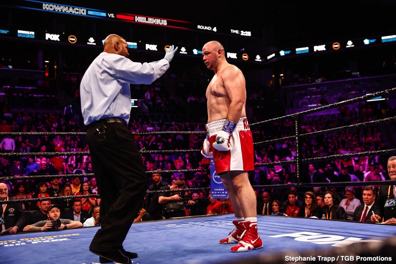 "Adam Kownacki, Robert Helenius - Adam Kownacki (20-1, 15 KOs) was taken apart by the ""Nordic Nightmare"" Robert Helenius (30-3, 19 KOs) in a disappointing fourth-round knockout in their high stakes fight on Saturday night at the Barclays Center in Brooklyn, New York."
