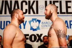 Adam Kownacki, Efe Ajagba, Frank Sanchez, Joey Dawejko, Razvan Cojanu, Robert Helenius - Heavyweight contenders Robert 'The Nordic Nightmare' Helenius and Adam 'Baby' Kownacki weighed on Friday for their WBA title eliminator on Saturday night for their fight at the Barclays Center in Brooklyn, New York.