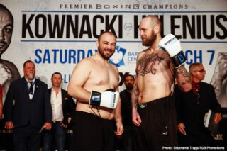 Efe Ajagba - Heavyweight contenders Robert 'The Nordic Nightmare' Helenius and Adam 'Baby' Kownacki weighed on Friday for their WBA title eliminator on Saturday night for their fight at the Barclays Center in Brooklyn, New York.