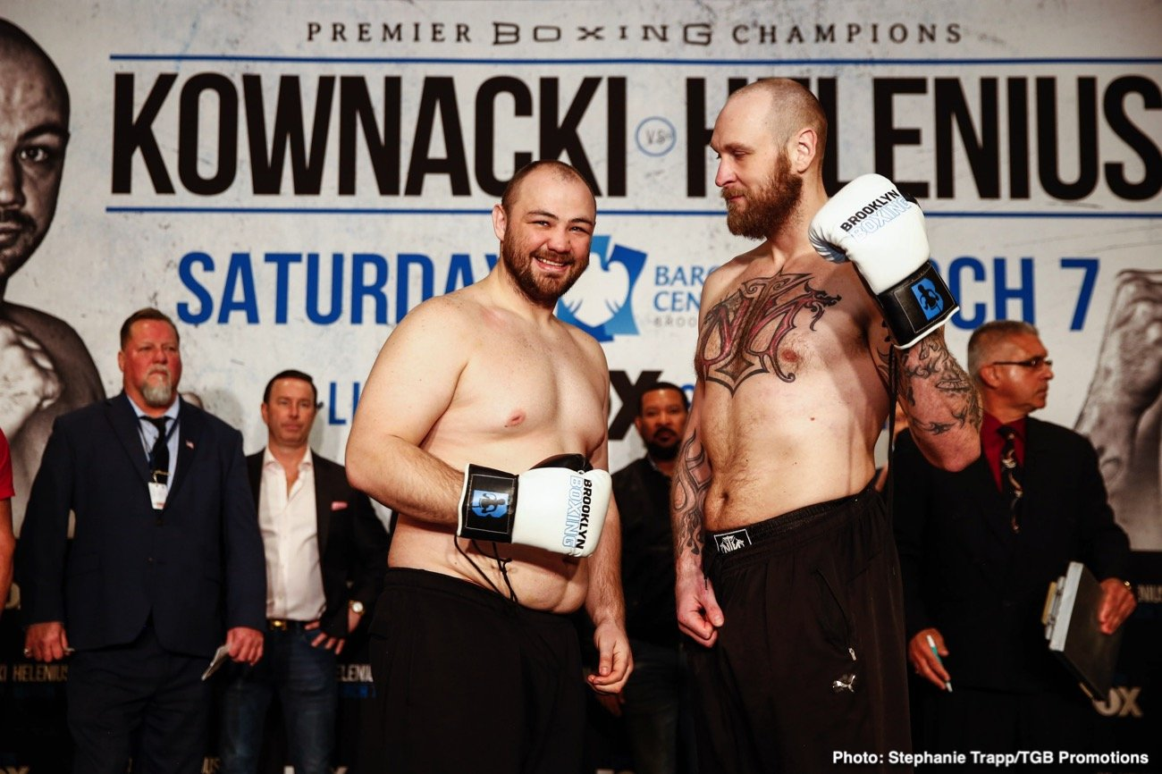 Heavyweight contenders Robert 'The Nordic Nightmare' Helenius and Adam 'Baby' Kownacki weighed on Friday for their WBA title eliminator on Saturday night for their fight at the Barclays Center in Brooklyn, New York.
