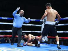 Andres Garcia, Oscar Duarte - Lightweight contender Oscar Duarte (19-1-1, 14 KOs) delivered a spectacular hometown performance tonight by scoring a brutal knockout win over Andres Garcia (13-3-1, 8 KOs) at 1:02 of the fifth round to capture the vacant NABF Lightweight Title in the scheduled 10-round main event of Golden Boy Fight Night on Facebook Watch. The event, which featured three battles between Mexico and Colombia, took place at The Gimnasio Municipal in Parral, Chihuahua, Mexico and was streamed live globally on Facebook Watch via the Golden Boy Fight Night Page.