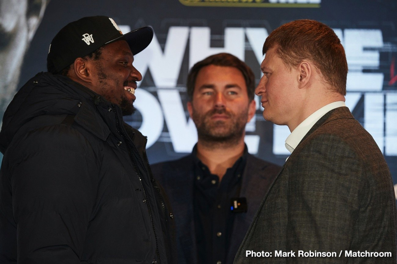 "DAZN - ""What a fight! Dillian Whyte against Alexander Povetkin for the WBC Interim World Heavyweight Championship live and exclusive on Sky Sports Box Office. The response to this fight in the last 24 hours has been incredible and we'll talk more about the fight and of course the importance of the Heavyweight division right now which will always be the flag bearer for the professional code. Three months ago, all of the belts with the PBC in America, now, of course, all of those belts in Britain with Tyson Fury and Anthony Joshua."