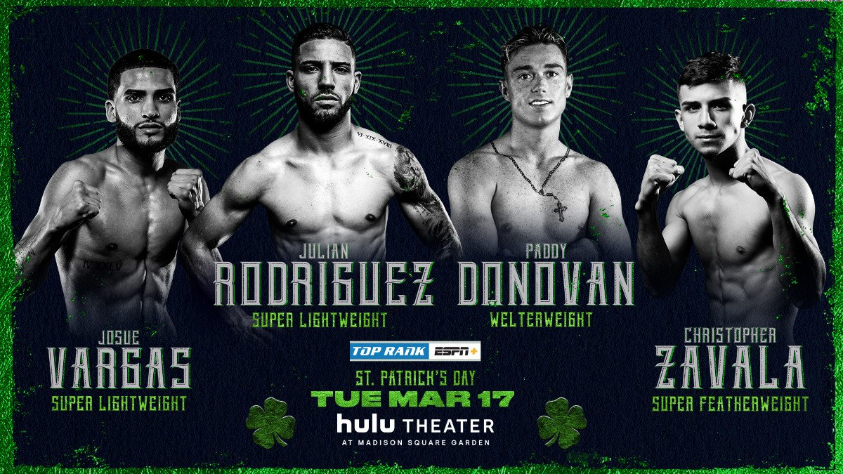 """Paddy Donovan -  Before Irish sensation Michael """"Mick"""" Conlan enters the ring against Colombian slugger Belmar Preciado in front of a raucous St. Patrick's Day crowd at Hulu Theater at Madison Square Garden (ESPN+, 8 p.m. ET), many of the sport's brightest young stars will look to steal the holiday spotlight."""