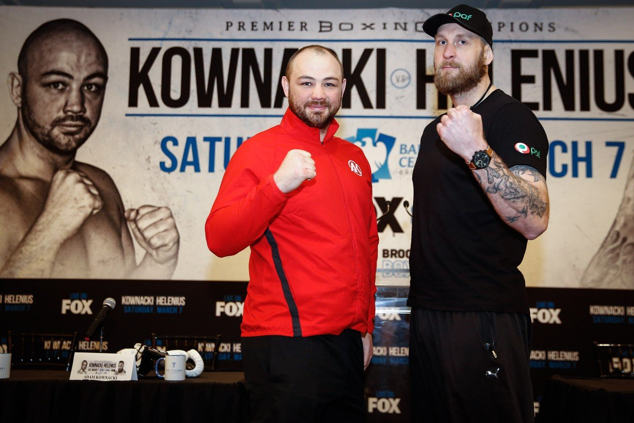 Undefeated Polish star and Brooklyn native Adam Kownacki and Robert Helenius went face to face Thursday at the final press conference before they meet in a WBA Heavyweight title eliminator headlining FOX PBC Fight Night and on FOX Deportes this Saturday, March 7 from Barclays Center, the home of BROOKLYN BOXING™.