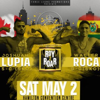 Josh Lupia, Walter Roca - Fans know it when they see it. That raw power that so few boxers naturally possess. When Josh Lupia (5-0-0, 5KOs) lands one of those shots, everything else becomes irrelevant. The fight is over. Such has been the case for all five of Lupia's opponents. On Saturday, May 2, he looks to keep his perfect KO% intact against undefeated Bolivian champion Walter Roca (8-0-0, 6KOs) for six rounds at the Hamilton Convention Centre.